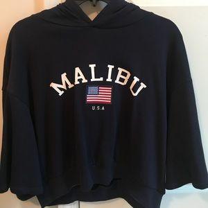 cropped navy  hoodie